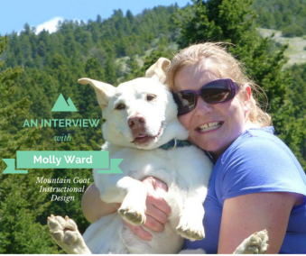 The Top Goat (Molly Ward) on the trail with her dog Ella.